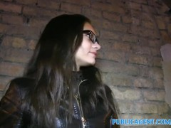 PublicAgent Russian babe gets fucked for cash in her glasses