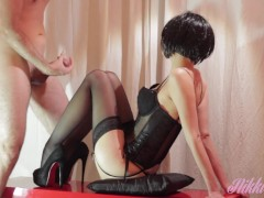 Hot Babe in Burlesque Costume sucks husband dick until he explodes on her!!