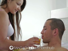 FantasyHD - Brunette hottie Lana wakes up and rides dick