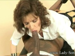 Lady Sonia sucks off big black stud cock