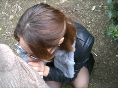 Public Striptease and Blowjob in a city Park