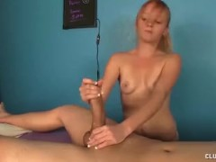 Teen babe takes care of this cock