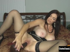 Horny Big Tit MILF Charlee Chase Stuffs Pussy With Big Black Dildo