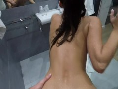 Claudia`s real orgasm while fucking under shower