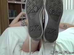 Footboner - pov foot fetish tease, sneakers, socks, and bare soles