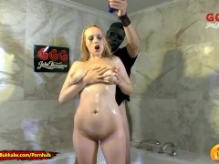Extreme Piss Lover Angel Wicky gets her Big Tits Wet - 666 Bukkake
