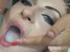 Premium Bukkake - Milena Swallows 50 Huge Mouthful Cumshots