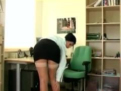 Super Hot Naughty Secretary Strips & Masturbates