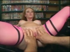 Audrey Hollander fucking in pink thigh high stockings and stilettos