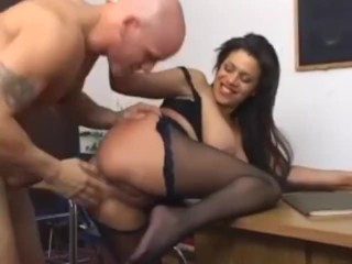Busty Alexis silver fucking in pantyhose with a ripped out crotch