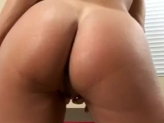 Busty Anilos Brenda James rides a dong on kitchen floor.