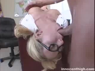 Blonde bopper Hillary deepthroats a cock upside down