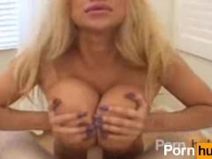 Wierd blonde tits fucking a guy