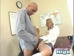 : Computer nerd Kat gets her tight asin pussy pounded by the school principal