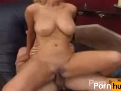 Big tit blonde rides him till he comes in her face