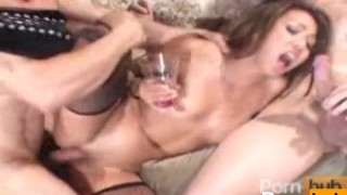 Keeani Lei in double dip part4  threesome swallow group doggystyle natural tits double penetration riding cumshot asian blowjob cum