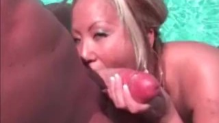 Jazzmine - The Pool Party - Scene 4  hardcore drunk big tits outdoor party pool asian blonde blowjob