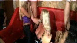 Sexy Blondes & Brunettes Suck On Hard Stripper Cock