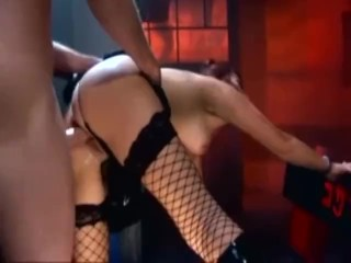 XXX porn - estel-two: Pretty brunette fucking in fencenet stockings a miniskirt and boots