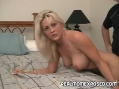Young blonde milf back at work