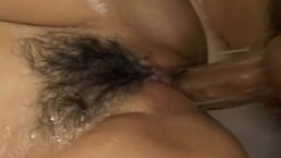 Busty Japanese babe gets banged by 2 horny men