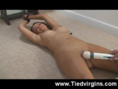 Tied and Spread Teen – orgasm!