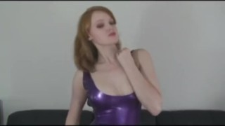 Slut strips in Latex  kinky striptease heels latex fingering red head latexheavenvideo.com sclip masturbation fetish solo
