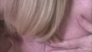 Melanie cuckolds hubby!  milf mature blow job homemade cuckold cumshot pov