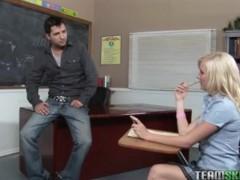 Cute blonde, Elaina Raye rammed hard by her prof