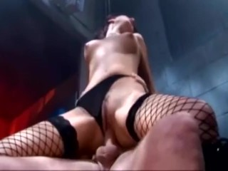 Sexy brunette fucking in fencenet stockings a miniskirt and boots