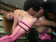 Audrey fucking in pink thigh high stockings and stiletto heels