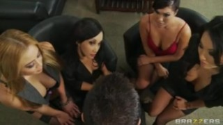 Four Hot Busty Asian Sluts in HOT orgy fuck boss' big-dick in office
