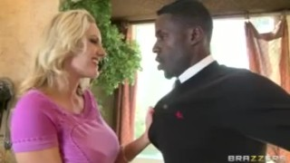 Cheating Big-tit blonde MILF fucks daughter's BF's big black cock