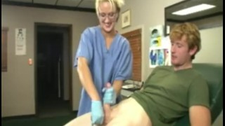 Nurse Milks Young Boy and Gets Blasted With Jizz  handjob orgasm cumblastcity.com natural tits sclip big cock cumshot blonde fetish big dick extreme