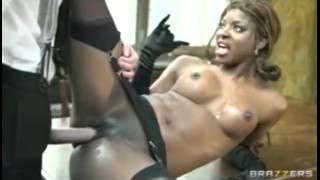 Danny D fucks horny perky-tit black doctor slut in lingerie with big dick
