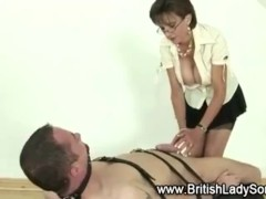 Femdom mature Lady Sonia gives handjob