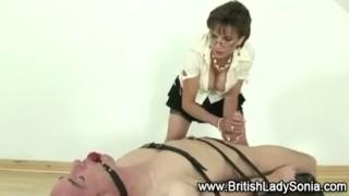 Femdom mature Lady Sonia gives handjob  handjob bigtits mature european stockings fake tits handy ladysonia huge tits british femdom fetish