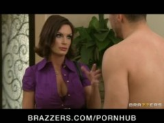 Horny big-tit brunette MILF Diamond Foxx fucked after massage