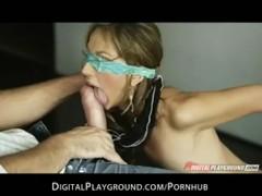 Horny brunette slut shows off her panties & is then fucked anal