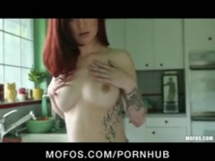 Sexy petite red-head slut girlfriend fucks tight pussy to orgasm