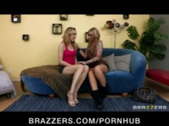 HOT blond lesbians fuck first-timer Lily Labeau with big strap-on