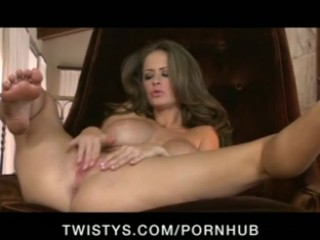 Horny big-tit brunette slut in lingerie rubs wet pussy to orgasm