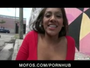Gorgeous big-boob brunette Jackie Cruz stops to play with a dildo