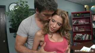 Big-boobed sex hungry teacher Aleksa Nicole fucks her student