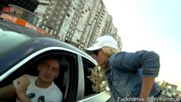 Blond babe picked up by BMW driver and fucked in car.