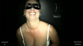 Gloryhole Swallow Heather1  blowjob gloryhole cumshot bigtits cock sucking brunette reality swallow mature mother heather natural tits masked pov