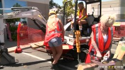Horny blonde construction worker Zoey Holiday fucks business man