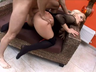 Blonde milf with bigtits fucking wearing black thigh high stockin