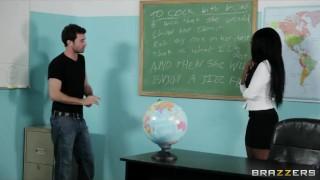 Preview 1 of Sexy busty Ebony teacher Persia Black fucks her school student