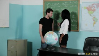 Sexy busty Ebony teacher Persia Black fucks her school student